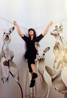 Anna-Wili Highfield, paper sculptor, with some brilliant kangaroo sculptures (featured in Financial Review's 'Life & Leisure' magazine). Love it!