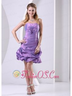 Taffeta Lavender Ruched and Bowkont Knee-length 2013 Club Cocktail Dress For Custom Made- $108.29  www.fashionos.com  This short prom dress is waiting for you! The pleated thick bodice with a straplesss neckline and a wraped texture waist which shows your curves in a romantic way. This ball gown skirt is dazzling, mini length and made of taffeta. which adds lots of pouf and fluff. Just a cute little dress for any occasion. The perfect dress to showcase your personality!