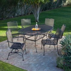 Arlington House Glenbrook Black 42 In Round Mesh Patio Dining Table Pinterest And Patios