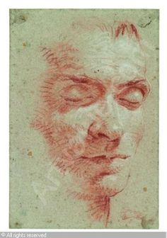 TIEPOLO Giovanni Battista (Giambattista),Männlicher Kopf, mit geschlossenen Augen,Galerie Kornfeld,Bern