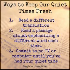 """Sometimes it's a real struggle to keep our commitment to Bible reading and study. Here are a few ideas for keeping our time with the Lord fresh. Double click on the image to read the 5-Minute devotion, """"The Day My Taste Buds Died."""""""