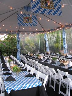 Oktoberfest themed wedding  I like this idea for an alumni reunion tailgate under tent.