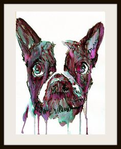 French Bulldog Dog Painting Purple Black by OjsDogPaintings #frenchbulldog #frenchie #dogs #art #frogdog