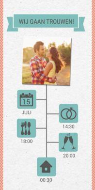 Lange trouwkaart tijdlijn met icoontjes