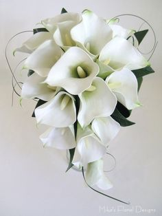white roses and black calla lillies | touch calla lily and silk rose teardrop bouquet real touch calla lily ...