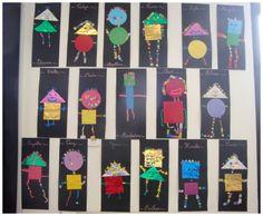 Les enfants ont réalisé un bonhomme avec des formes géométriques : collage et gommettes, rien de bien compliqué mais il faut voir leurs yeux quand ils savent qu'ils peuvent prendre toutes les gommettes qui veulent !! Ils s'en donnent à coeur joie....... Kindergarten Art Projects, Math Projects, Body Preschool, Preschool Crafts, Art Montessori, Recycled Crafts Kids, Shape Art, Art Lessons Elementary, Art Programs