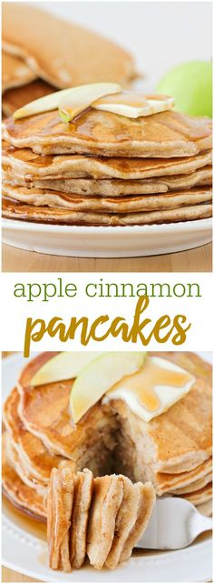 Delicious Cinnamon Apple Pancakes - this recipe is not only flavorful, but it's simple, so tasty and perfect for any breakfast!Delicious Cinnamon Apple Pancakes - this recipe is not only flavorful, but it's simple, so tasty and perfect for any breakfast! Pancakes Vegan, Breakfast Pancakes, Breakfast Dishes, Breakfast Recipes, Fluffy Pancakes, Pancake Recipes, Apple Pancake Recipe, Breakfast With Apples, Pancake Flavors