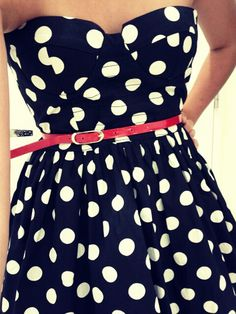 polka dots dress & red belt  #redbelt #polkadots #navy #white #cute #dress #strapless #summer