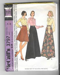 Vintage 1970s Misses Skirt and Blouse Sewing Pattern 3797 Size 14 by SinclairsStuff on Etsy