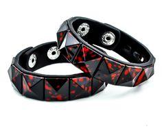 (2 Pack) Blood Splatter Pyramid Stud Wristbands
