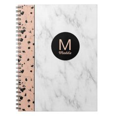 #girly - #Trendy Rose Gold and Marble with Monogram Spiral Notebook