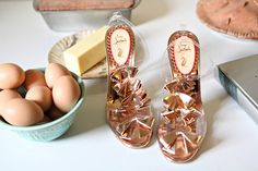 love these clever and pretty shoes! plastic / metallic / bows / wedding / sheer