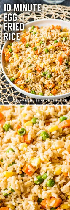 10 Minute Simple Egg Fried Rice! Need a new go-to side dish for busy weeknights? Making fried rice at home is always a great staple, and this easy recipe comes together in just 10 minutes! | HomemadeHooplah.com