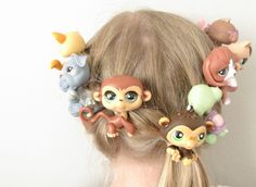 Wacky hair day - french braid concept using littlest pet shop animals and tiny elastics.