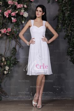 Sheath/Column Sweetheart Straps Pleats Knee-Length White Chiffon Dress