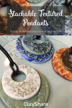 These fun and easy to make stackable textured pendant are perfect for mixing and matching!Follow ClayShare for more pottery and craft ideas, projects, tips and techniques.