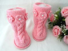 Baby Shoes Baby Girl Booties Baby Clothes Children by Solnishko42