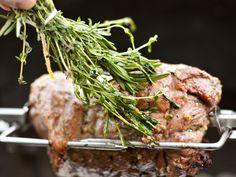 spit roast Rotisserie Boneless Leg of Lamb with Lemon, Rosemary, & Garlic
