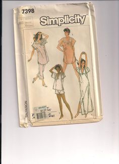 1986 Simplicity 7398 FACTORY FOLDED Misses Nightgown and Pajamas in Two Lengths Vintage Sewing Pattern Medium