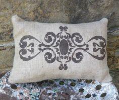 Burlap, hand painted  damask pillow.