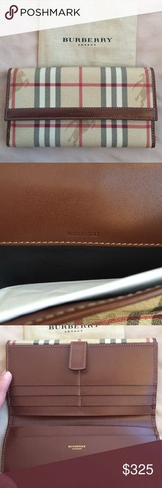 Authentic Burberry wallet Authentic Burberry wallet.  NWOT.  Includes dust bag.  The only flaw is a small spots from rubbing against something, shown in last picture. Burberry Bags Wallets