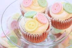 Cupcakes at a Cute as a Button Baby Shower #babyshower #button