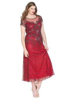 Plus Size Pisarro Nights® Illusion Beaded Mesh Dress