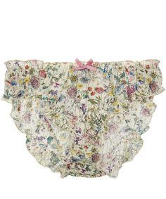 Liberty Print White Wild Flowers Print Cotton Knickers | Underwear | Liberty.co.uk