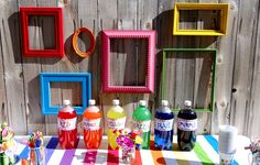 Rainbow Art Party from KB Custom Designs on Pretty My Party! #rainbow #art #party #drinktable #frames