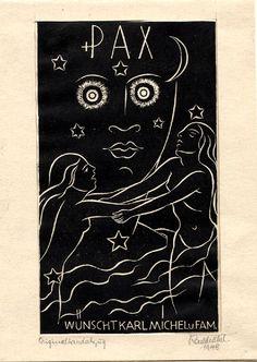 """Karl Michel, 1885-1966. Holzschnitt, PF, """"PAX wünscht Karl Michel u. Fam."""" 1948"""