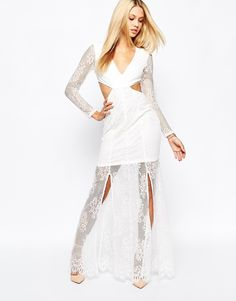 Missguided Lace Long Sleeve Cut Out Maxi Dress