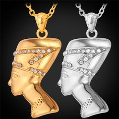 Egypt Queen Pendant Necklace Women Jewelry Wholesale 2015 18K Real Gold/Platinum Plated Crystal Necklace African Jewelry