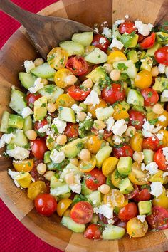 Tomato Avocado Cucumber Chick Pea Salad with Feta and Greek Lemon Dressing - Cooking Classy (olive oil dressing recipes) Vegetarian Recipes, Cooking Recipes, Healthy Recipes, Bean Recipes, Cooking Games, Vegetarian Camping, Vegetarian Salad, Cooking Steak, Vegetable Recipes