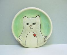 Ceramic Spoon Rest with Sneaky Gray Tabby Cat or Kitty, Green and White Spoon Rest For The Kitchen, Cat Pottery or Animal Pottery