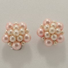Pink Faux Pearl Cluster Clip On Earrings Hong by FancyNancyVintage,