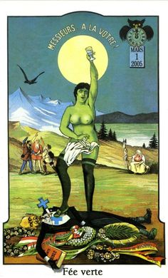 Commemorative label to mark the re-legalisation of absinthe in Switzerland in 2005.