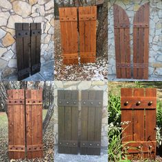 Stained cedar shutters exterior shutters Board and Batten Window Shutters Exterior, Outdoor Shutters, Cedar Shutters, Farmhouse Shutters, Rustic Shutters, Diy Shutters, Homemade Shutters, Outside Shutters, Exterior Stain