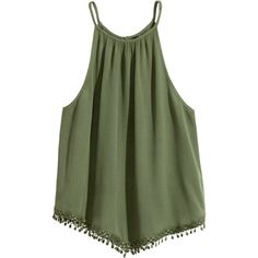 Ärmlös topp 129 ($18) ❤ liked on Polyvore featuring tops, t o p s, t-shirts, tank tops, green tank, crinkle top, sleeveless tank, lace trim top and lace trim tank top