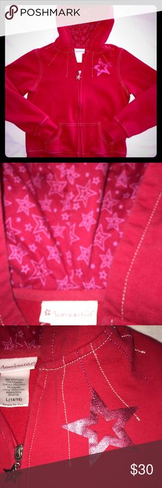 American Girl Zip-Up Hoodie NWOT! Never worn. Daughter is too old for it. Nicely crafted, bright American Girl Zip-Up. American Girl Shirts & Tops Sweatshirts & Hoodies