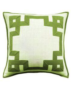 raffia fretwork pillow in green