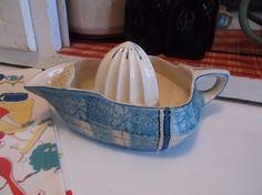 Antique Ceramic Hand Painted Japan Juicer Kitchen Reamer by BitsOfLeatherNLace on Etsy https://www.etsy.com/listing/217163435/antique-ceramic-hand-painted-japan