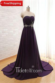 Elegant A-line Strapless Chiffon Long Prom Dress With Beading