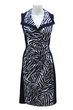 Joseph Ribkoff ~ Navy and white zebra print dress with wide collar and side gather.