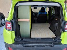 started with a bed platform, and shelf unit, with some storage space underneath the bed platform as well Bed Platform, Jeep Renegade, Camper Conversion, Camper Life, Cross Country, Van Life, Motorhome, 4x4, Shelf