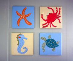 Sea Creatures Custom Canvas Paintings (Starfish, Crab, Seahorse, Sea Turtle) $49.99 on Etsy