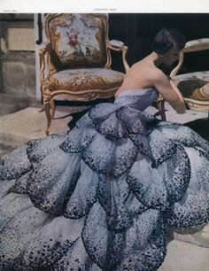 - Dark fairytales - (via Christian Dior 1949 Photo Horst, Evening Gown — original fashion print)
