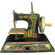 Casige German Toy Sewing Machine with Art Deco Style Designs~~