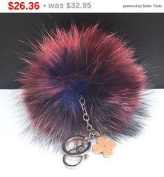 NEW Collection Dimensional Swirl Multi Color Raccoon Fur Pom Pom bag charm clover flower charm keychain piece no.267