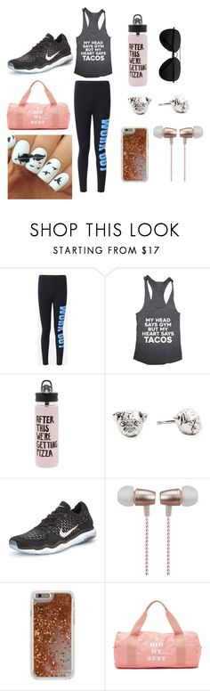 """""""Work Out"""" by unicorn1019 ❤ liked on Polyvore featuring ban.do, Dog Fever, NIKE, Cynthia Rowley and Agent 18"""