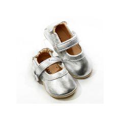 Barefootky - Skeanie - Skeanie Infant Pre-walkers Mary Jane's Silver
